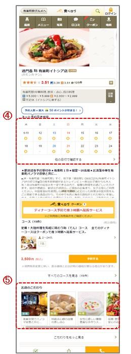 食べログUI変更ページ(スマホ)