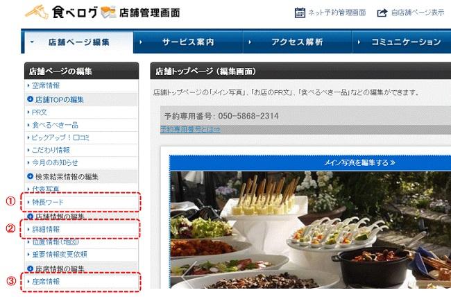 食べログ管理画面 チェック項目